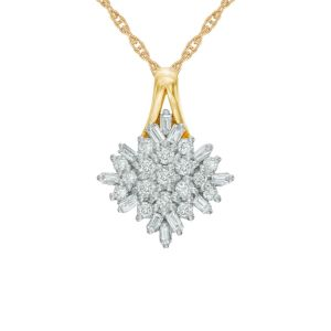 10K Yellow Gold 1/2 CT. T.W. Diamond Snowflake Cluster Pendant