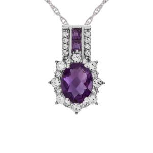 Sterling Silver Amethyst & Lab Created White Sapphire Pendant