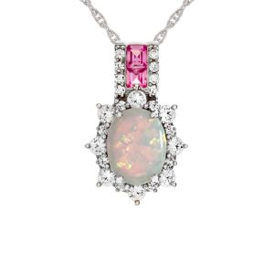 Sterling Silver Lab-Created Opal and Lab-Created Pink and White Sapphire Pendant