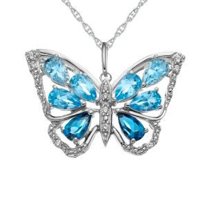 Sterling Silver Shades of Blue Topaz Butterfly Pendant