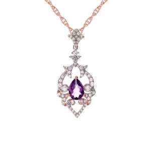 14K Rose Gold over Sterling Silver Amethyst and Lab-Created White Sapphire Pendant
