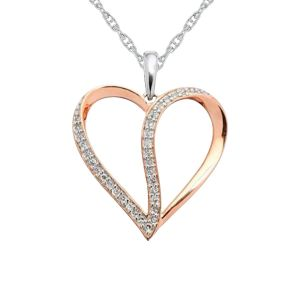 14K Rose Gold over Sterling Silver 1/10 CT. T.W. Diamond Heart Pendant