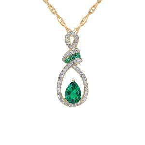 14K Yellow Gold Emerald and 1/5 CT. T.W. Diamond Pendant