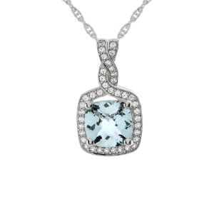 Sterling Silver Aquamarine and Lab-Created White Sapphire Pendant