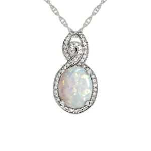 Sterling Silver Lab Created Opal and Lab-Created White Sapphire Pendant