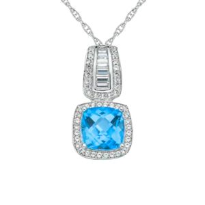 Sterling Silver Blue Topaz & Lab-Created White Sapphire Halo Pendant