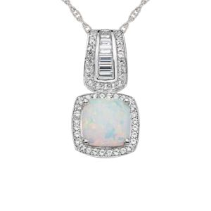 Sterling Silver Lab created Opal & Lab-Created White Sapphire Halo Pendant