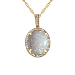 10K Yellow Gold Lab-Created Opal and 1/8 CT. T.W. Diamond Pendant