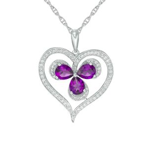 Sterling Silver Amethyst and Lab-Created White Sapphire Clover in Heart Pendant