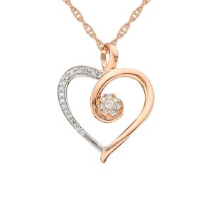 14K Rose Gold over Sterling Silver 1/6 CT. T.W. Diamond Heart Pendant