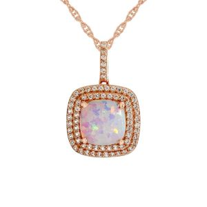 14K Rose Gold over Sterling Silver Lab-Created Opal and Lab-Created White Sapphire Pendant