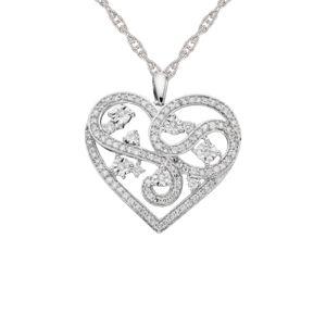 Sterling Silver 1/2 CT. T.W. Diamond Filigree Heart Pendant