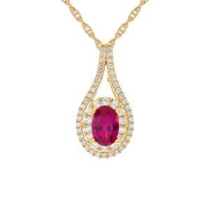 14k Yellow Gold Ruby and 1/4 CT. T.W. Diamond Pendant