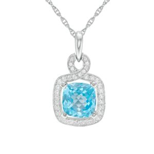 Sterling Silver Cushion-Cut Blue Topaz and Lab-Created White Sapphire Frame Pendant