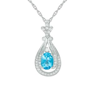 Sterling Silver Oval Blue Topaz and Lab-Created White Sapphire Doorknocker Pendant