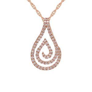 14K Rose Gold over Sterling Silver 1/4 CT. T.W. Diamond Swirl Teardrop Pendant