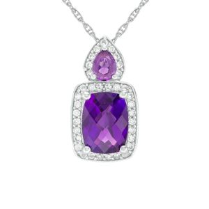 Sterling Silver Cushion Cut Amethyst and Lab-Created White Sapphire Frame Pendant