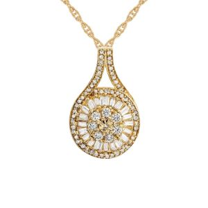 14K Yellow Gold over Sterling Silver 1/2 CT. T.W. Diamond Baguette Cluster Pendant