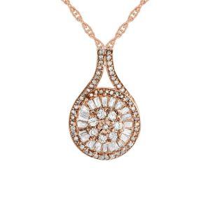 14K Rose Gold over Sterling Silver 1/2 CT. T.W. Diamond Baguette Cluster Pendant