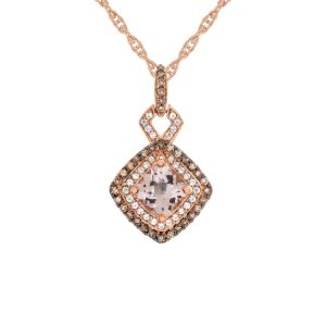 10K Rose Gold Morganite and 1/3 CT. T.W. Diamond Pendant