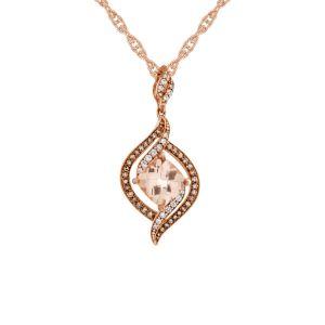 10K Rose Gold Morganite and 1/4 CT. T.W.  Diamond Pendant