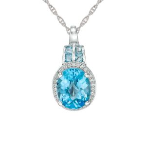 Sterling Silver Oval Blue Topaz and 1/6 CT. T.W. Diamond Frame Pendant