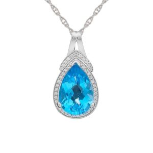 Sterling Silver Blue Topaz and Lab-Created White Sapphire Teardrop Pendant