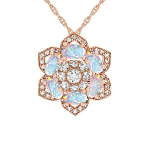 14K Rose Gold Over Sterling Silver Lab-Created Opal and Lab-Created Sapphire Flower Pendant