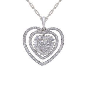 Sterling silver 1/2 CT. T.W. Genuine Diamond Heart Pendant