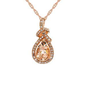 10K Rose Gold Morganite and 1/6 CT. T.W. Diamond Pendant