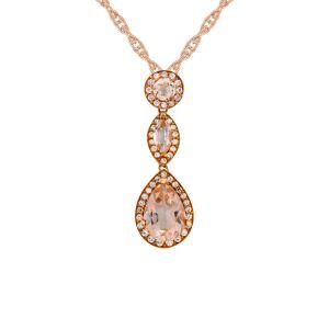 10K Rose Gold Morganite and 1/4 CT. T.W. Diamond Drop Pendant