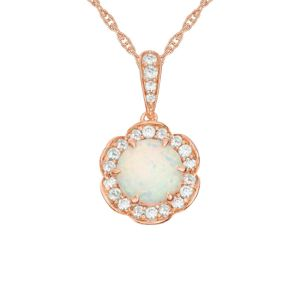 14K Rose Gold over Sterling Silver Lab-Created Opal and Lab-Created White Sapphire Flower Frame Pendant