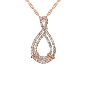 14K Rose Gold over Sterling Silver 1/3 Carat T.W. Diamond Infinity Pendant