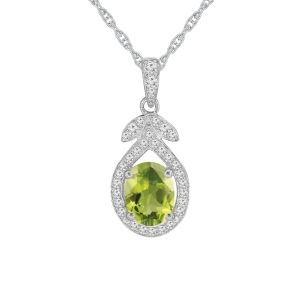 Sterling Silver Peridot and Lab-Created White Sapphire Pendant