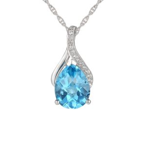 Blue Topaz  & Diamond Necklace in 14k White Gold
