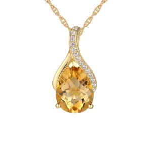 14K Yellow Gold Citrine and Diamond Accent Pendant