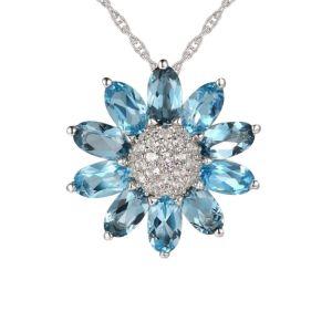 Sterling Silver London Blue Topaz, Blue Topaz and White Topaz Flower Pendant