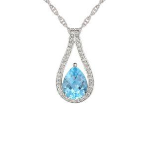 14k White Gold Blue Topaz and 1/8 CT. T.W. Diamond Teardrop Pendant