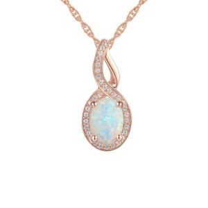10K Rose Gold Lab-Created Opal and Lab-Created White Sapphire Pendant