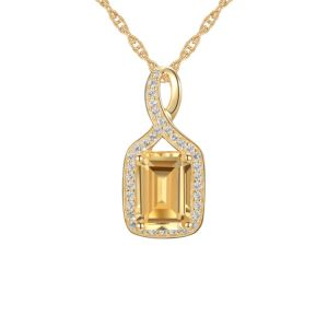 10K Yellow Gold Citrine and Lab-Created Sapphire Pendant