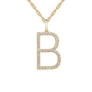 "14K Yellow Gold 1/4 CT. T.W. Diamond ""B"" Initial Pendant"
