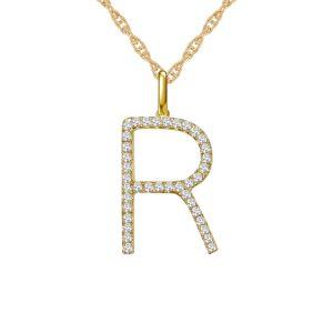 "14K Yellow Gold 1/4 CT. T.W. Diamond ""R"" Initial Pendant"