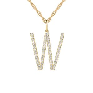 "14K Yellow Gold 1/3 CT. T.W. Diamond ""W"" Initial Pendant"