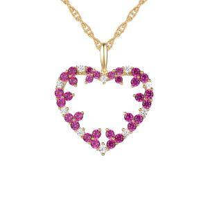 14K Yellow Gold Genuine Ruby & 1/8 CT.T.W. Diamond Heart Pendant