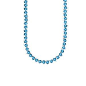 Sterling Silver Genuine Blue Topaz tennis Necklace