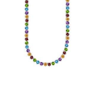 Sterling Silver Genuine Multi stone tennis Necklace