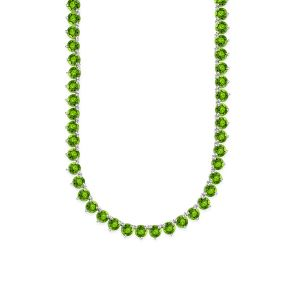 Sterling Silver Genuine Peridot tennis Necklace
