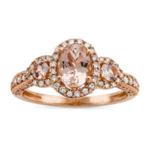 10K Rose Gold 1/2 CT. T.W. Genuine Pink Morganite Cocktail Ring