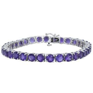 "Sterling Silver Amethyst Tennis Bracelet 7"""