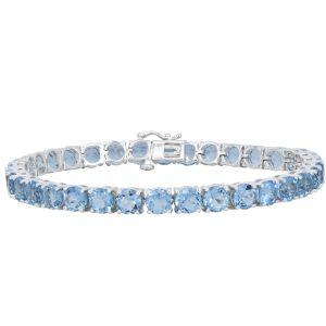 "Sterling Silver Blue Topaz Tennis Bracelet 7"""